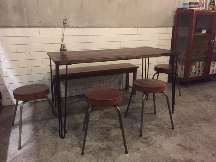 Retro u0026 industrial look dining table u0026 chairs. : For the Home : Pinterest : Dining tables ...