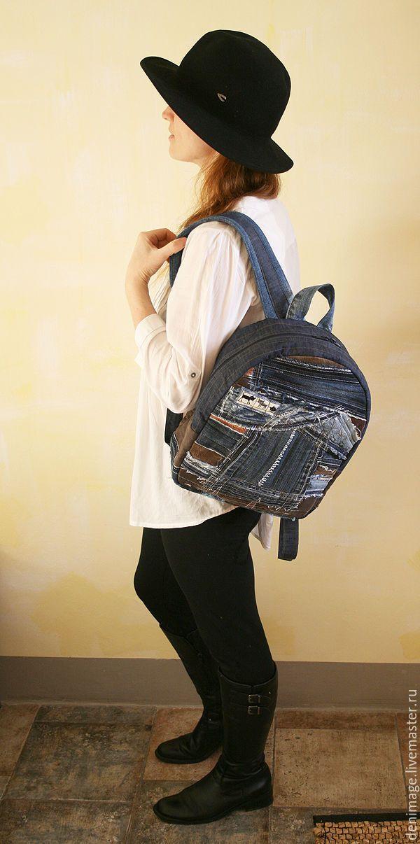 """Купить Джинсовый рюкзак в стиле """"Боро"""" - джинсовый рюкзак, джинсовый стиль, рюкзак, городской рюкзак"""