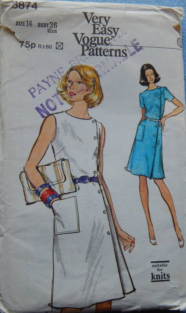 """1970s vintage Vogue 8874 Uncut and FF sewing pattern Dress Bust 36"""" (92 cm) by chicpatternstudio on Etsy"""