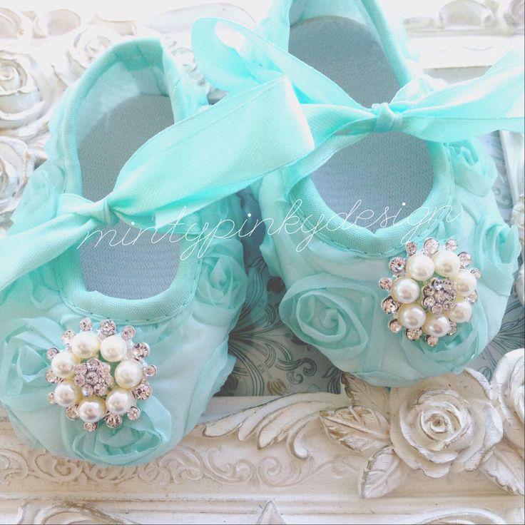 A personal favorite from my Etsy shop https://www.etsy.com/ca/listing/171808052/mint-satin-baby-crib-shoes-baby-rosette
