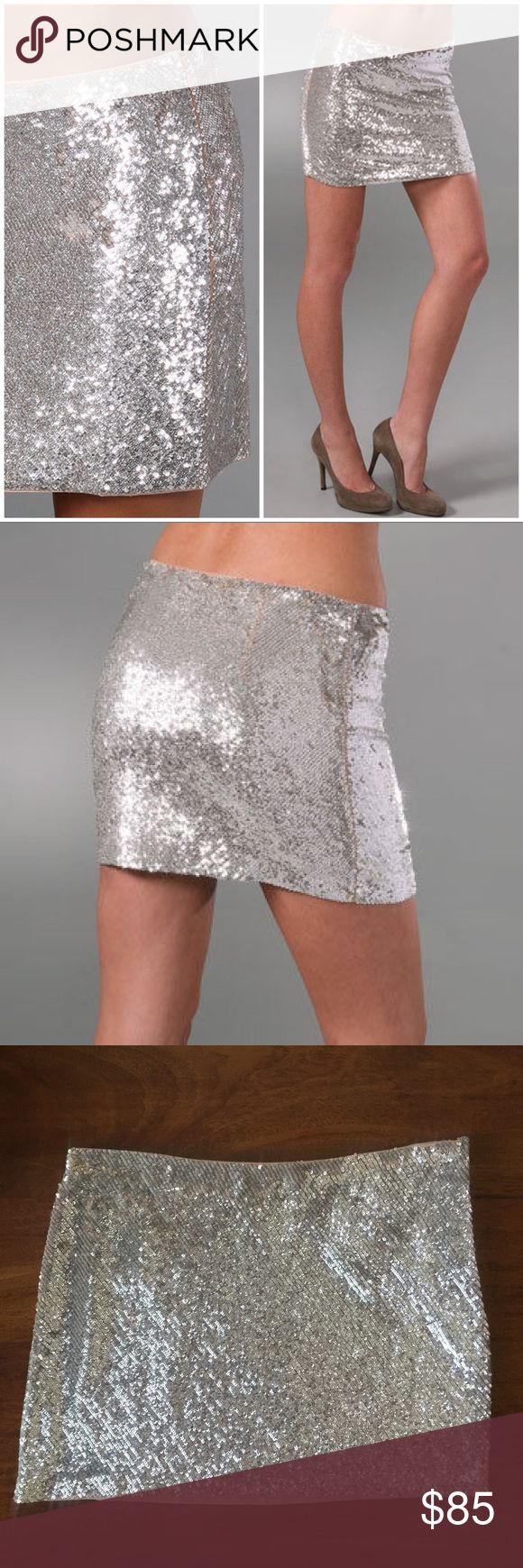 "Haute Hippie silver sequin mini skirt • nwot Super fun and sexy little silver sequined mini skirt by Haute Hippie. New without tags..does still have the extra sequins attached though. This bias-sequined silk-chiffon miniskirt features a hidden side zip. Lined. Size: XS Color: Metallic Silver w/nude lining          13"" long, 15"" across waist  100% silk Dry clean Imported Retail $295 Haute Hippie Skirts Mini"