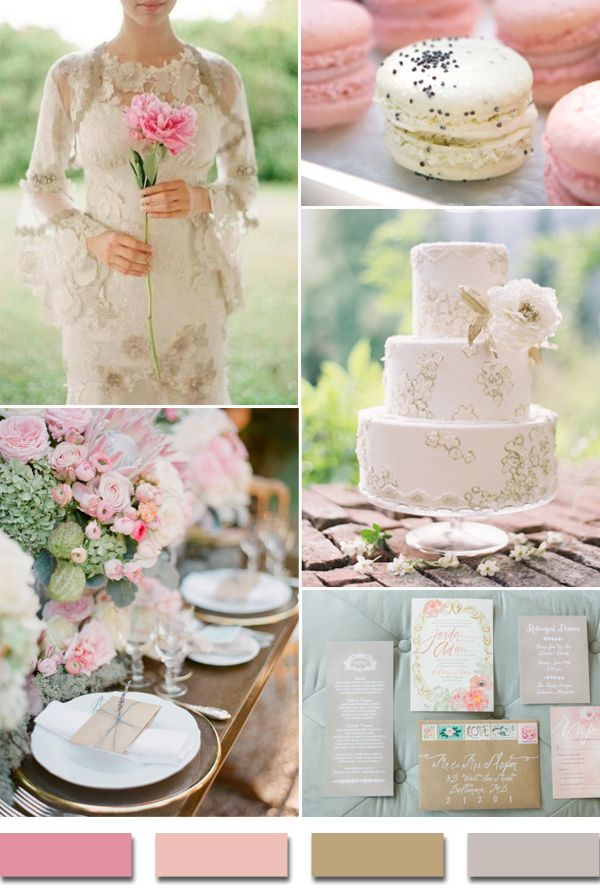 shades of pink kahki nude and gray 2015 trending vintage wedding color ideas #weddingcolors #elegantweddinginvites
