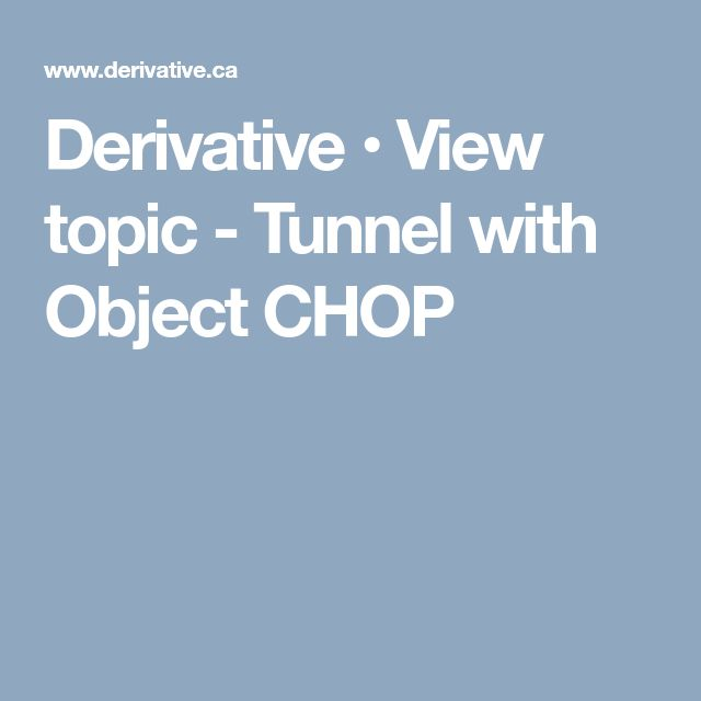 Derivative • View topic - Tunnel with Object CHOP