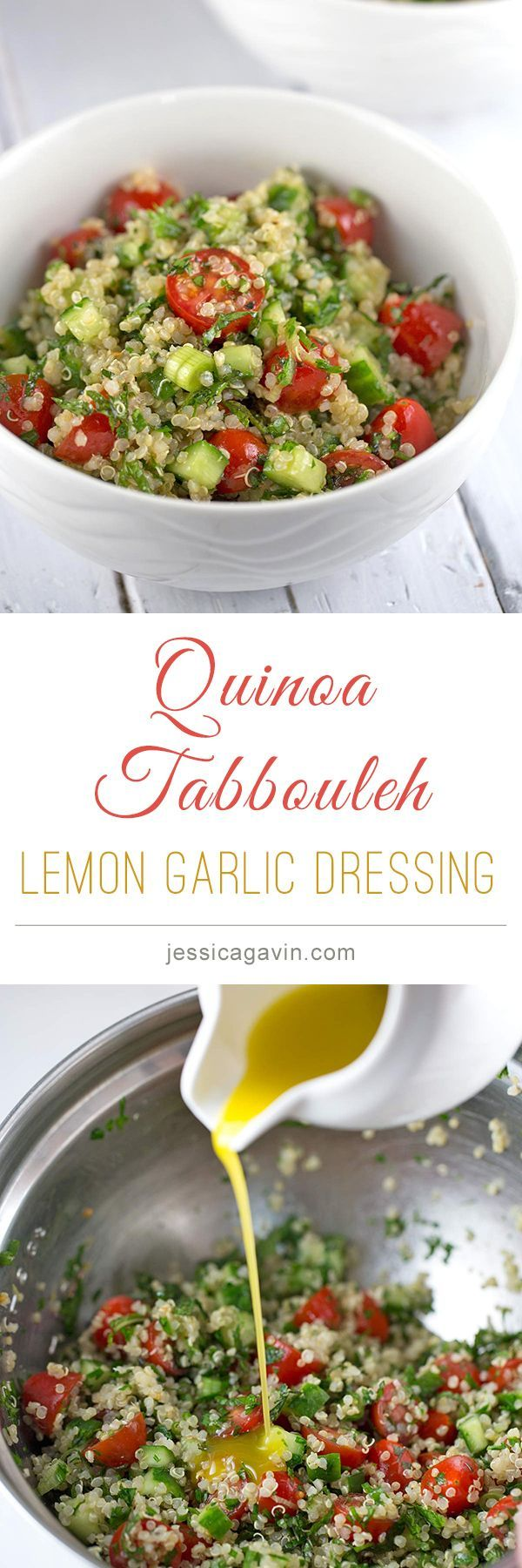 Healthy and delicious. Quinoa Tabbouleh with lemon garlic dressing.