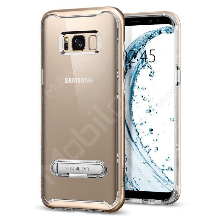 Průhledný kryt na Samsung Galaxy S8 se stojánkem Spigen Crystal Hybrid zlatý