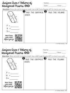 FREE Surface Area and Volume of Hexagonal Prisms Worksheet