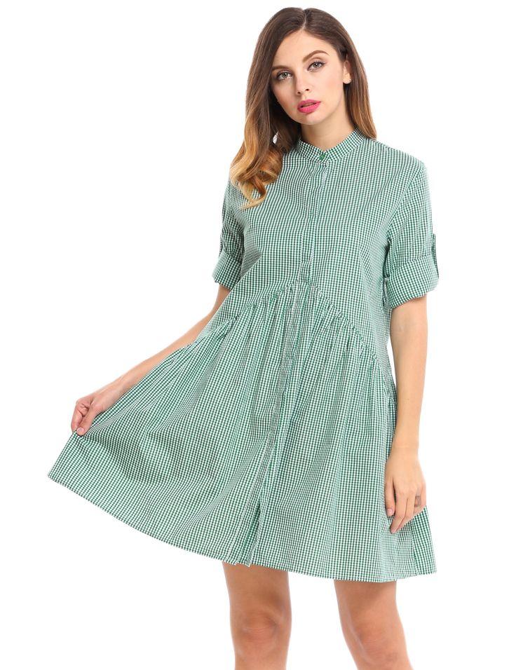 Blue Plaid Button Down A-Line Short Shirt Dress