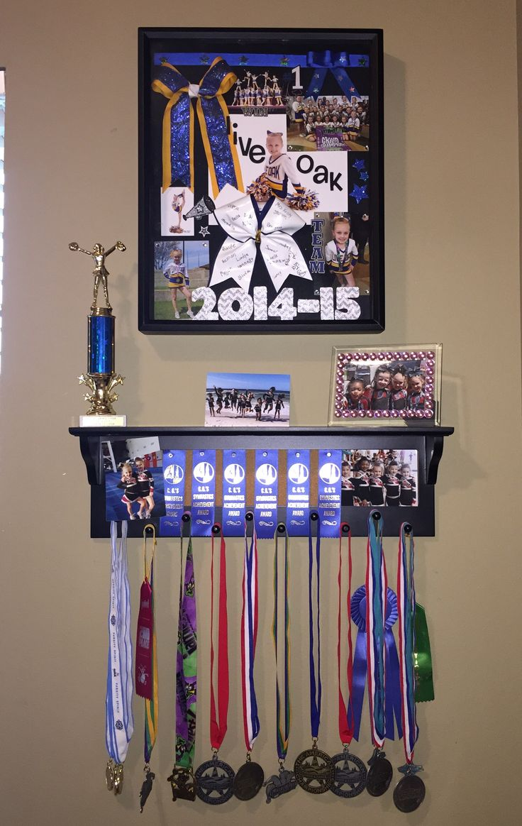 Cheer medals, cheer shadow box, cheer display, cheer bows