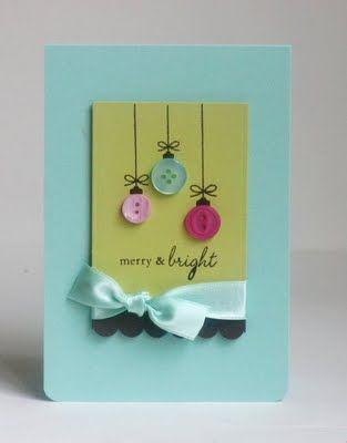 Adorable Button Ornament Card!