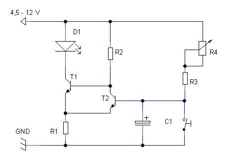Um circuito de temporizador, Timer, básico utiliza a propriedade do capacitor eletrolítico de ser carregado eletricamente para funcionar, funcionando como bateria,