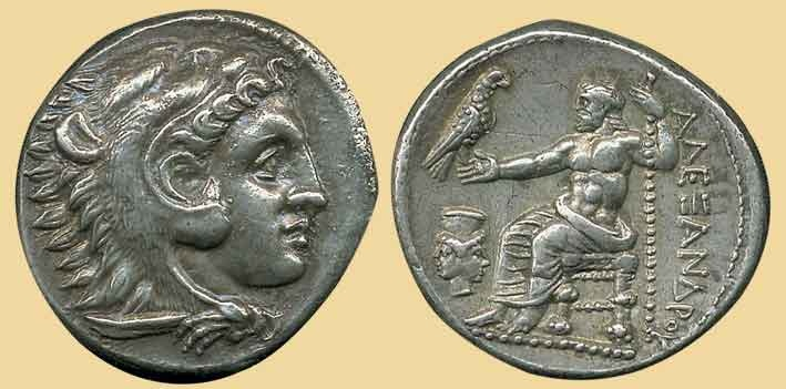 Ancient Greek coin of Alexander the Great (b. Macedonia, Greece, 356-323 BC)