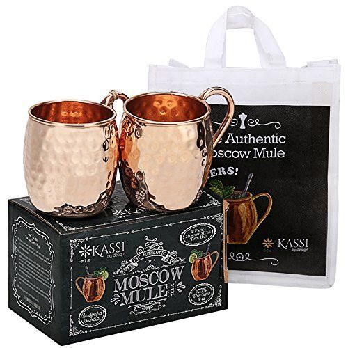 KASSI Moscow Mule Copper Mugs Gift Set of 2 - Handcrafted 100% Pure Solid Hammered Finish Copper Mule Cocktails & Cold Drinks Bar Set Mug - Unlined 16 oz Copper Cups w/ Tote Bag
