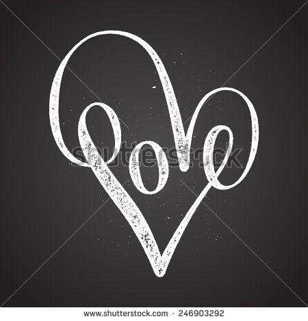 love heart elegant doodle chalk on blackboard