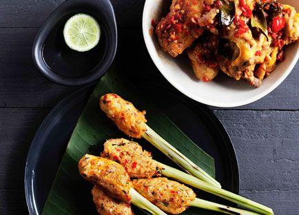 Australian Gourmet Traveller recipe for Balinese seafood satay (Sate lilit)