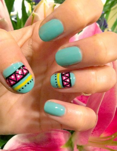 Blue, nail, art, aztec, pink, yellow, black, easy, cute, simple, diy