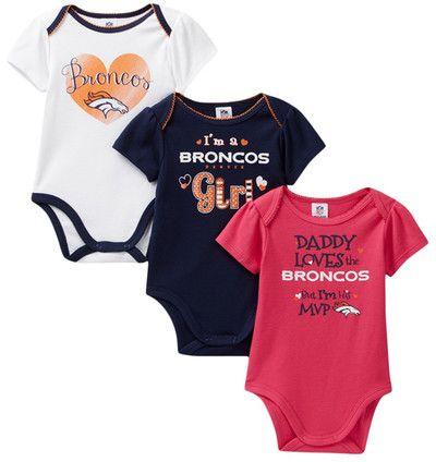 NFL Network Denver Broncos Bodysuits - Set of 3 (Baby Girls)