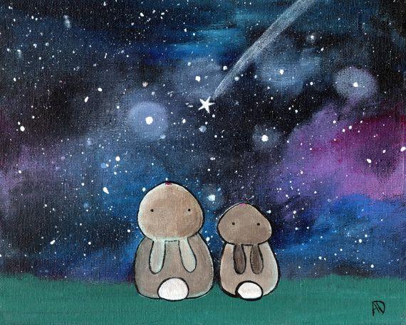 Starry Night Sky Bunny Rabbit Woodland Animals Kids Art