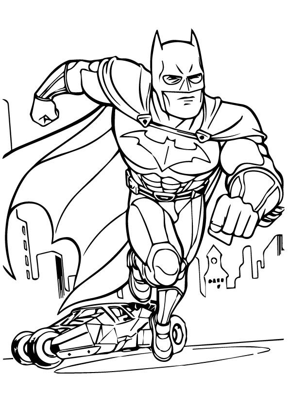 Batman And Batmobile Batman Coloring Pages Superhero Coloring