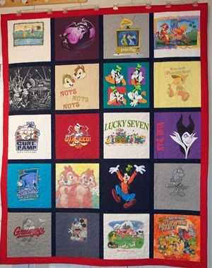 I have been saving my daughter's class Tshirst since elementary with the plan of having a quilt made for her.  But a quilt of Disney t-shirts - just brilliant!!