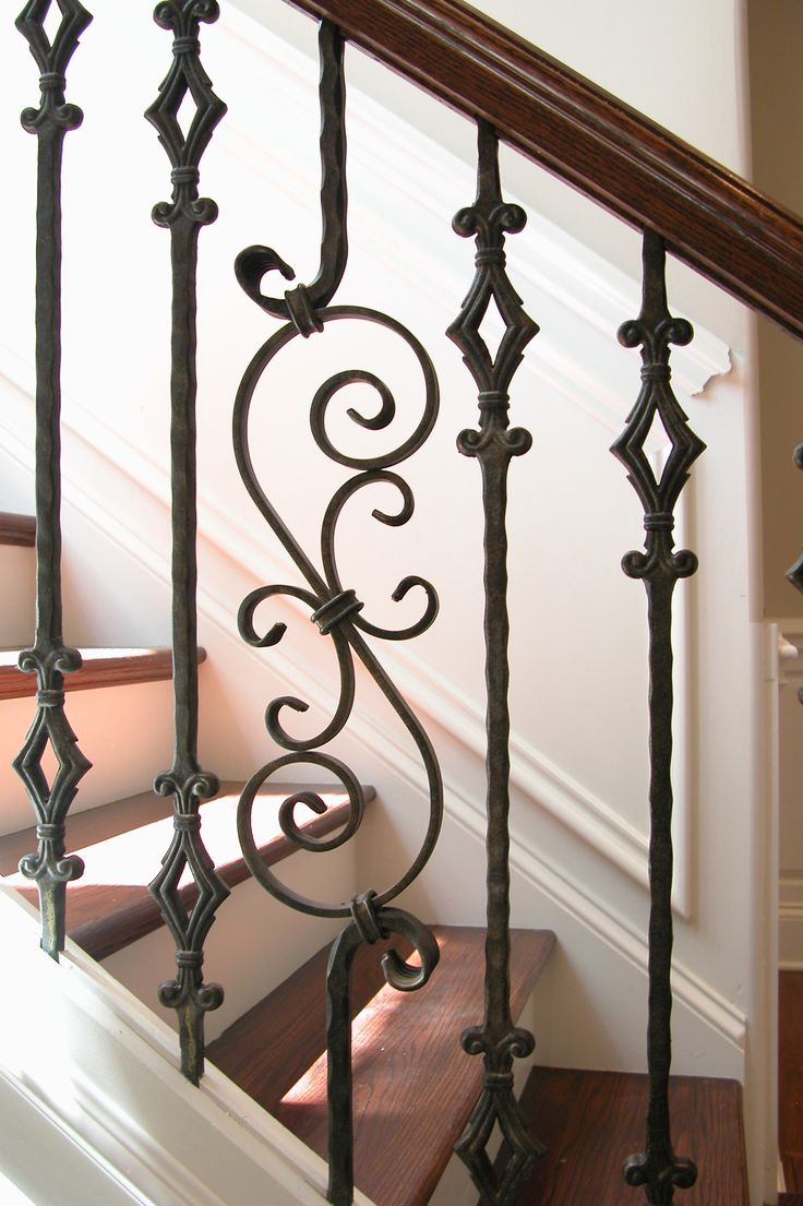 This staircase design was created using Tuscan square hammered balusters. The double diamond baluster (2.9.4) and the large square hammered scroll (2.9.8) pairs seamlessly to create a uniquely designed staircase. These components are available in Satin Black (shown) or Oil Rubbed Bronze powder-coated finish. We offer parts, install services, and custom components throughout Texas. Click the image for more information.