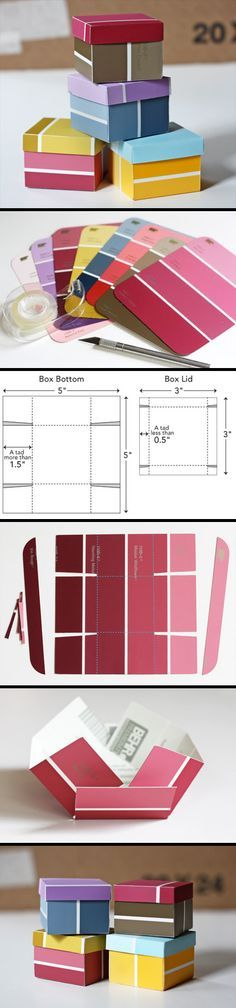 Paint Chip Box Tutorial. All you need are some paint chips, double-sided tape, an x-acto knife, rule & cutting mat. Template & instructions available.