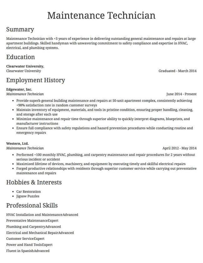 Maintenance Technician Example Resume Resume Maintenance Resume Format