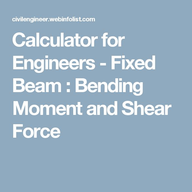 Calculator for Engineers - Fixed Beam : Bending Moment and Shear Force
