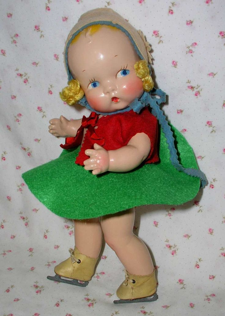 """Harriet Flanders 1937 Compo 12"""" Little Cherub Baby -- All Original in Skating Outfit"""