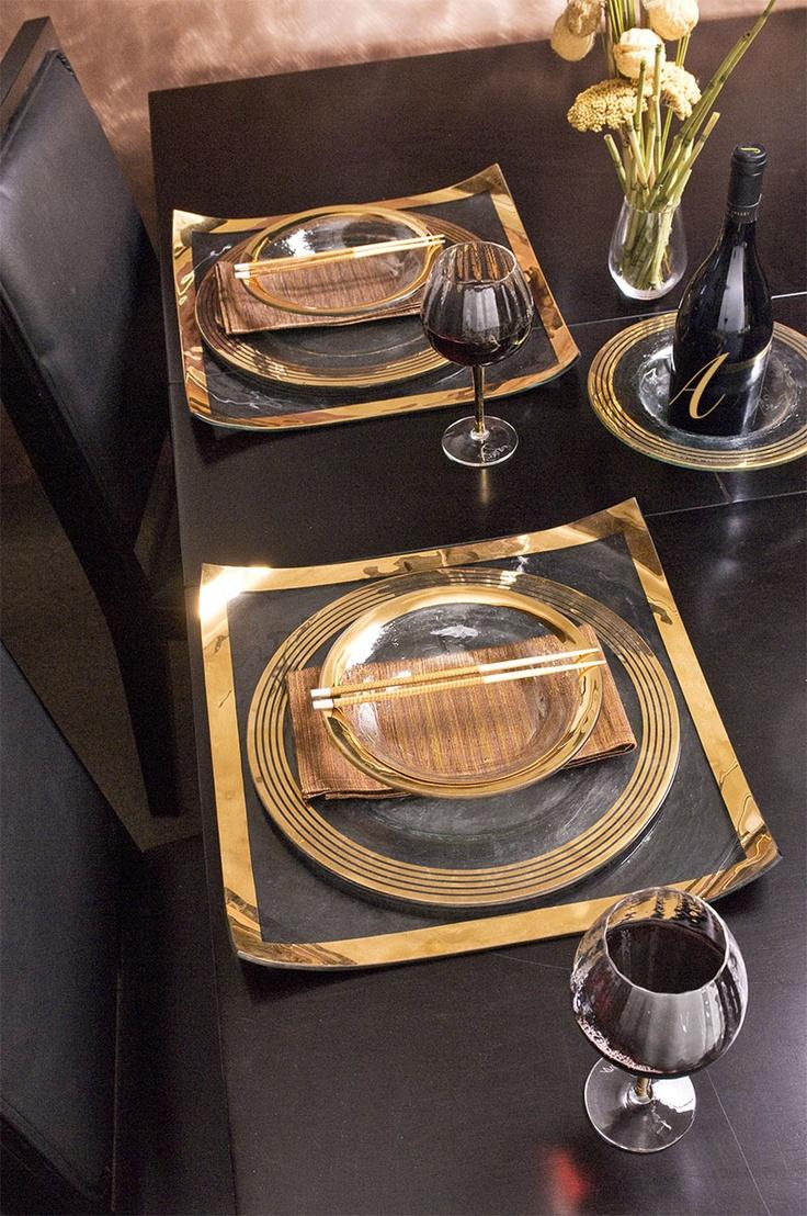 Annieglass chic contemporary gold tablescape tabulatua.com