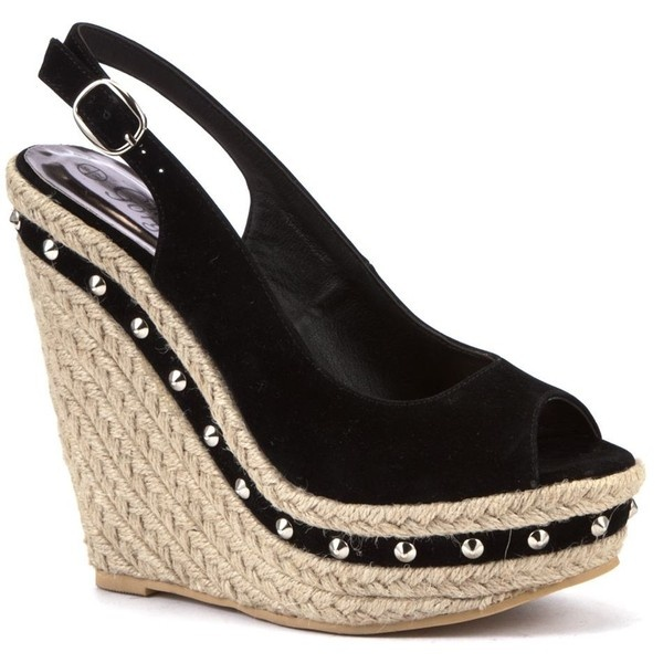 Black Stud Espadrille Wedge Sandals ($38) found on Polyvore