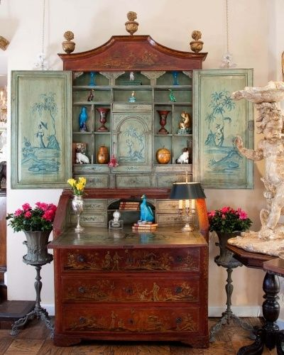 Great Secretary/Bookcase filled with various antiques including turquoise chinese export duck and other bird figures.