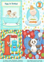 4 Babys First BirthdayToppers for Boys on Craftsuprint - View Now!