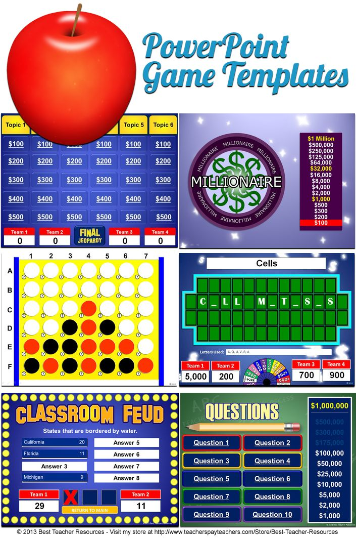 PowerPoint game templates that play just like your students favorite game shows including Jeopardy, Family Feud, Wheel of Fortune,