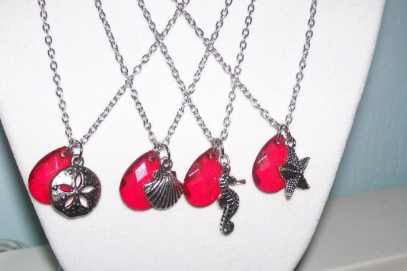 Red Beach Wedding Necklaces  Set of 4 by WinningWreaths on Etsy
