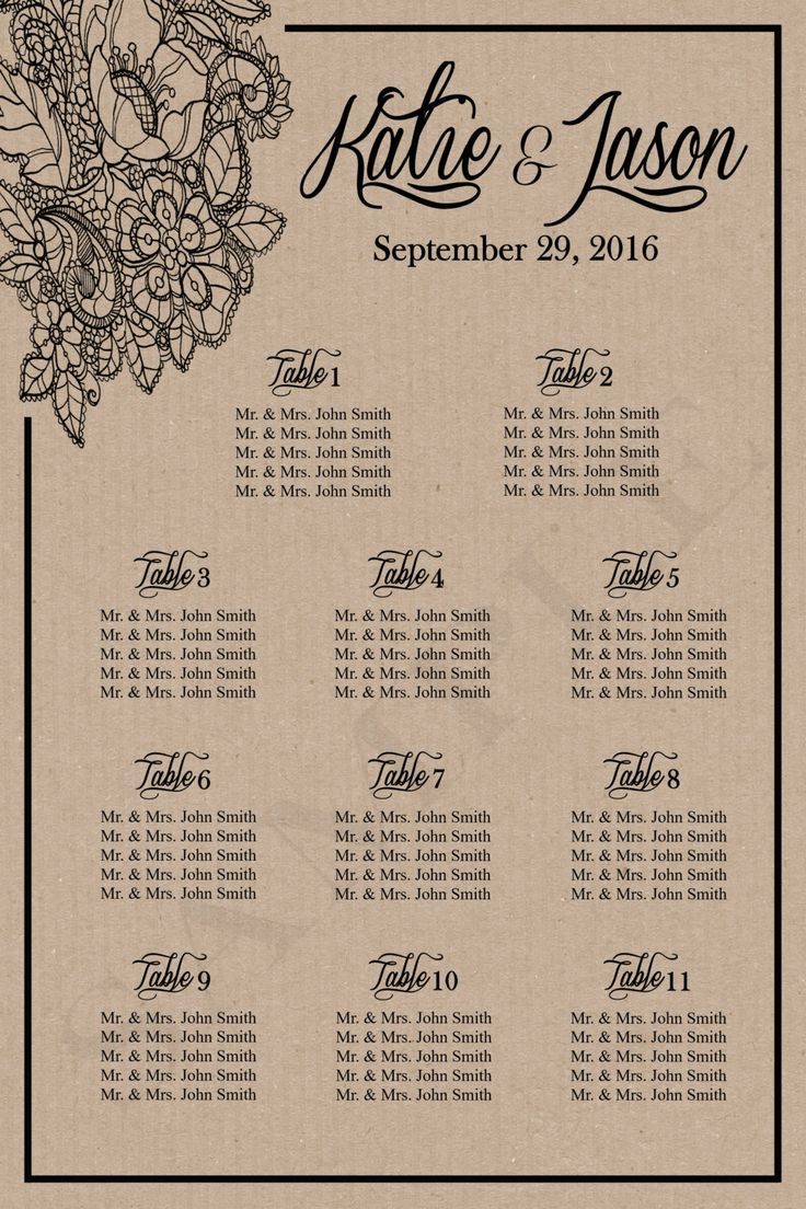 Rustic Black Lace Wedding Seating Chart-Wedding Seating Chart-Rustic Seating Chart-Digital or Printed-Item RL-0016 by PleasebeSeatedDesign on Etsy