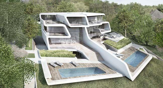 Küsnacht Villa in Zurich, Switzerland, designed by British architects Zaha Hadid.