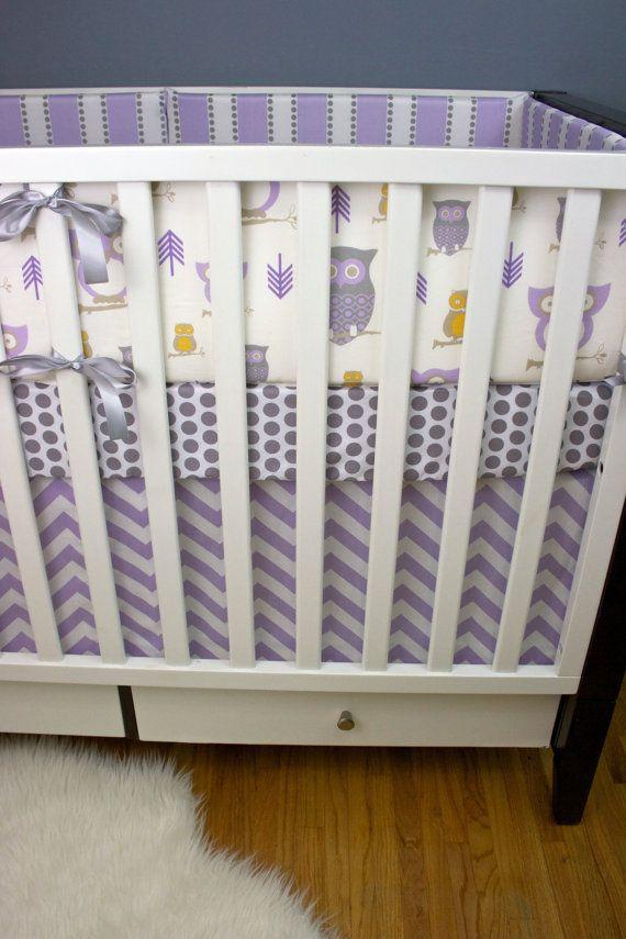 Bedding nursery sets baby bedding set baby nursery owl purple gray