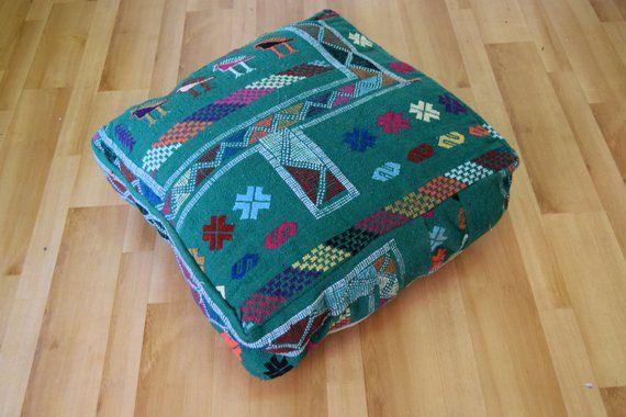 Boho design Talssint Vintage pouf Square pouf Azilal pouf 100 /% wool  Multicolor poufs Berber art Gift for her Home decor Moroccan Floor