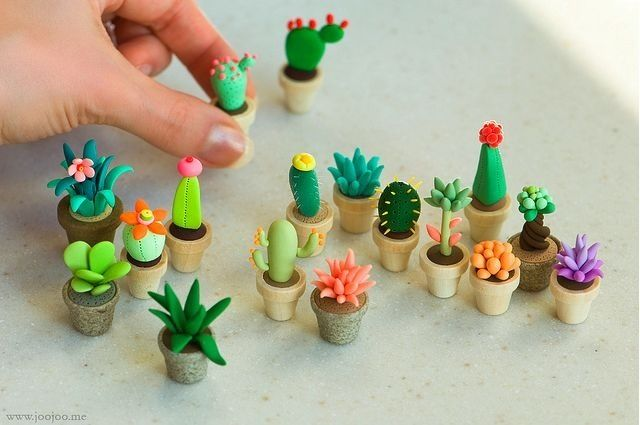 Polymer clay cactus - for the dolls house - our family attempts with salt-dough - http://www.flickr.com/photos/vgenburgos/9932260304/