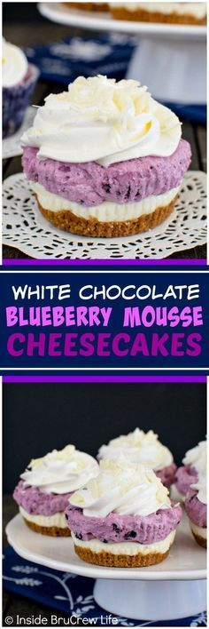 White Chocolate Blueberry Mousse Cheesecakes - layers of crunchy cookies, creamy cheesecake, & fluffy mousse create a fun no bake dessert that everyone will love. Great recipe for holiday parties!