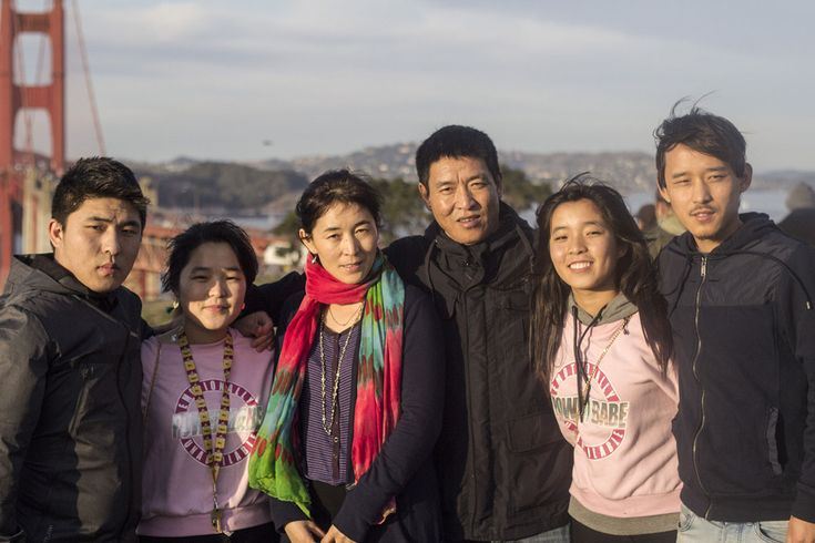 Former Tibetan political prisoner Dhondup Wangchen poses for a photo with his wife and four children in front of the Golden Gate Bridge in San Francisco, US, on 27 December 2017.  Former Tibetan political prisoner Dhondup Wangchen poses for a photo with his wife and four children in front of the Golden Gate Bridge in San Francisco, US, on 27 December 2017.  Photographer unknown