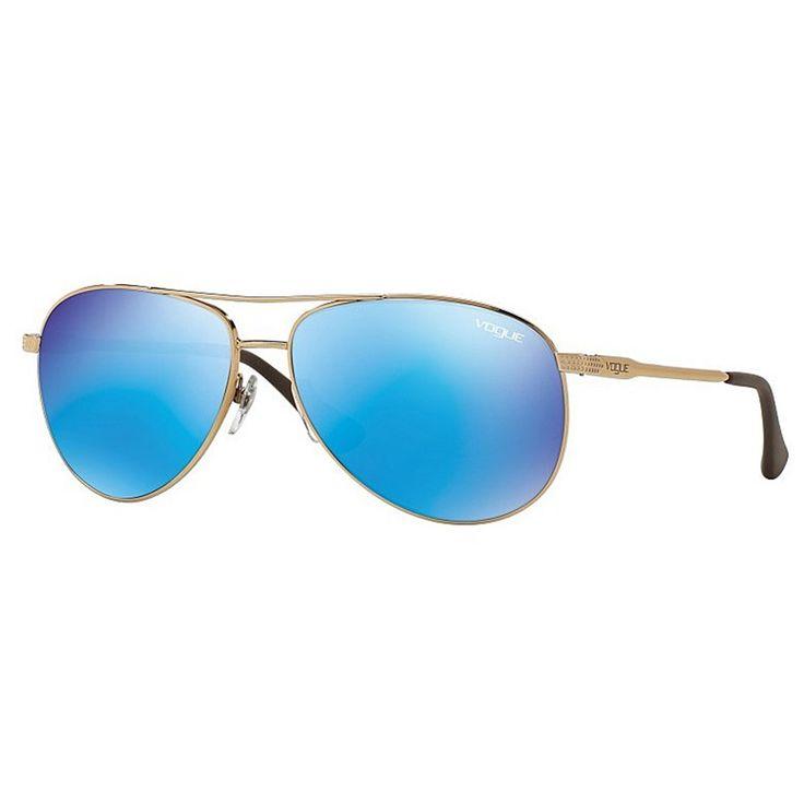 Óculos de Sol Vogue Aviador Dourado com Lente Azul Espelhada -