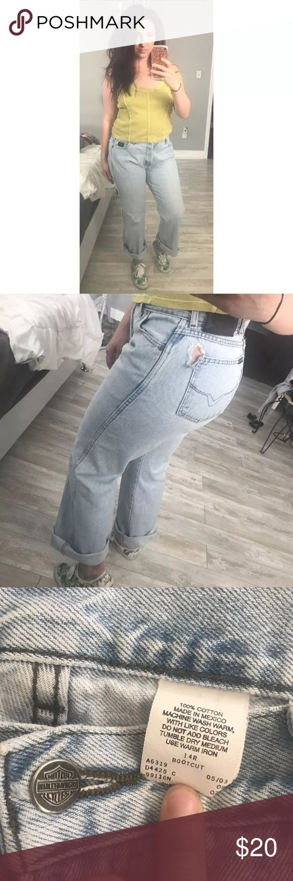 Harley Davidson Boot Cut Jeans 🏍 Great jeans! Hole near back pocket and some wear near back pockets. Boot cut, size 14. Light wash. Harley-Davidson Jeans Boot Cut