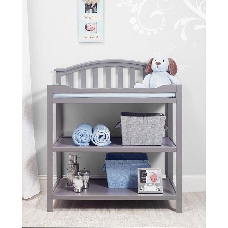 Berkley Dressing Table matches the Berkley Collection, sold separately. Changing table with pad, belt and 2 open shelves. Classic style with gently curved back. Features sturdy construction in a durable gray finish.<br><br>Sorelle creates high-quality nursery furniture that grows with your infant and toddler. For over 30 years, the Sorelle name has been synonymous with style and sturdy construction. The company's nursery furniture collections eloquently combine form and functi...
