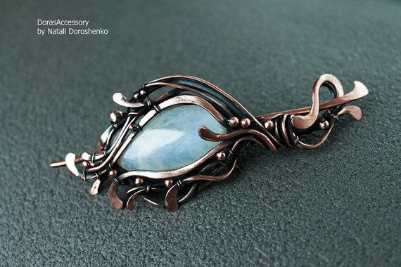 Hair-slide with Moon stone   copper wirewrapped by DorasAccessory
