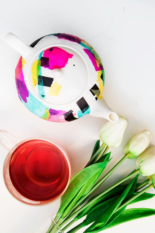DIY tissue paper tea pot - super easy!