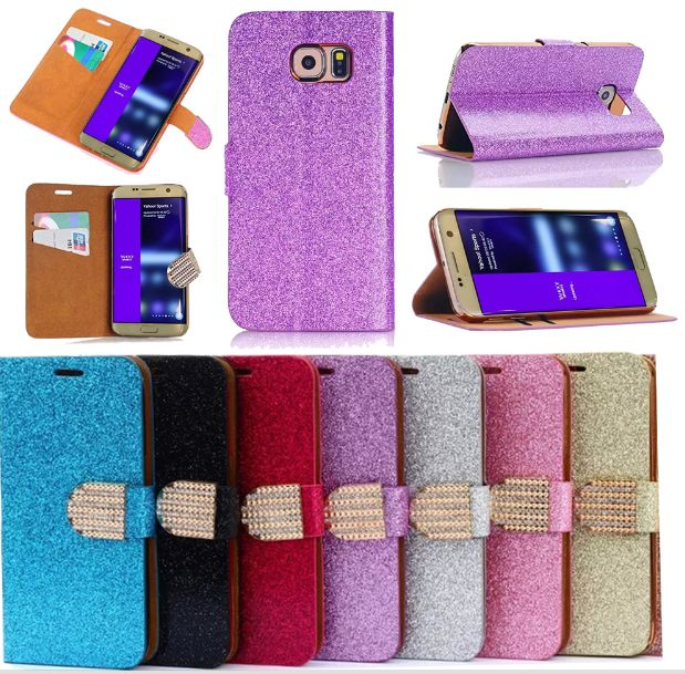 Colorful Diamond Bling Luxury Wallet Case Cover For Samsung Galaxy S7 Edge S7 Pu Leather Cases Filp Cover Luxury Wallet Leather Case Samsung Galaxy S7 Edge