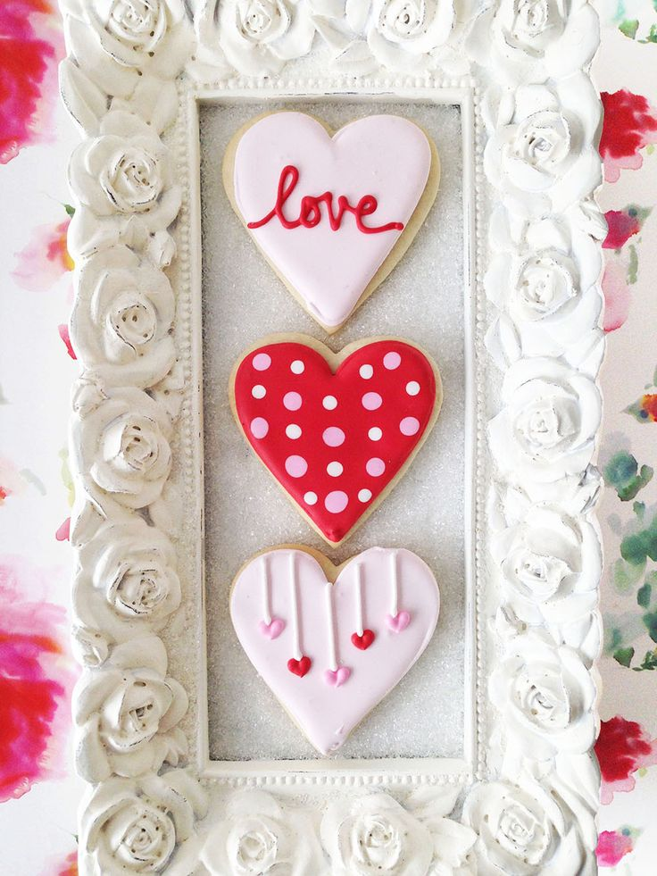 Heart Shaped Sugar Cookies with LOVE, Polka Dots, and Hanging Hearts for Valentine's Day. By Bake Sale Toronto.