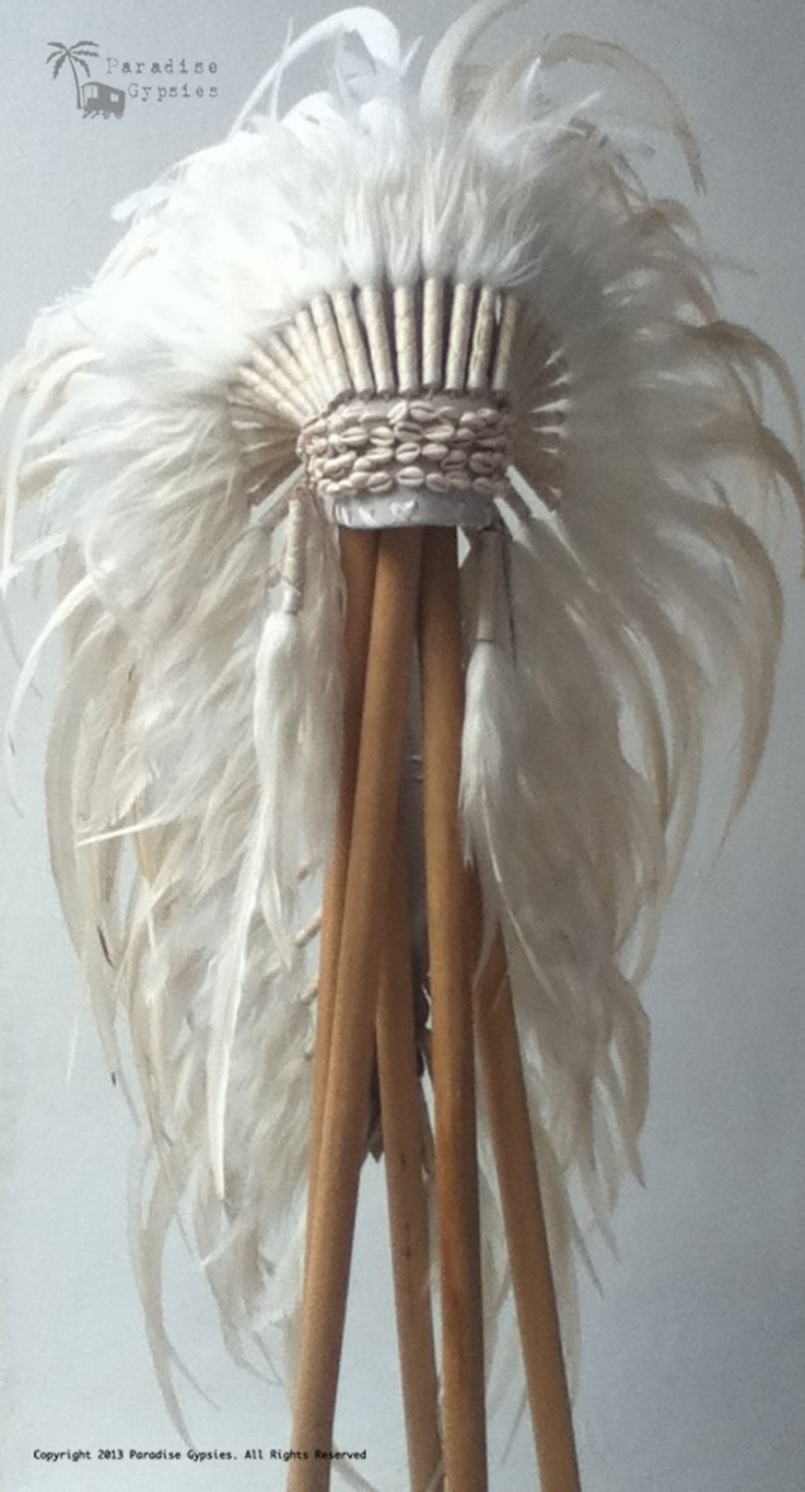 Cowrie Shell All White Long Full Feather Headdress - Made To Order. $190.00, via Etsy.