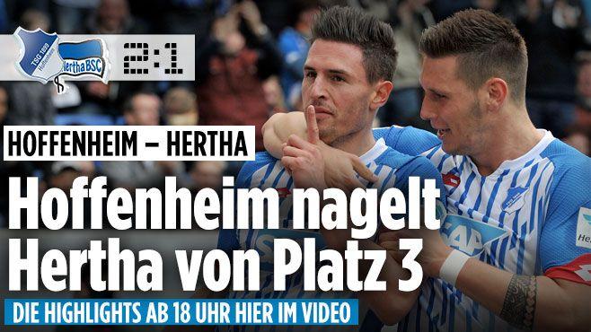Bundesliga LIVE: Tabelle ++ Bundesliga Ergebnisse ++ NEWS - Bundesliga Saison 2015/16 http://www.bild.de/bundesliga/1-liga/saison-2015-2016/spielbericht-1899-hoffenheim-gegen-hertha-bsc-am-30-Spieltag-41833638.bild.html